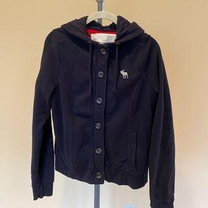 Abercrombie Women's Large Navy Zip-Up Sweatshirt